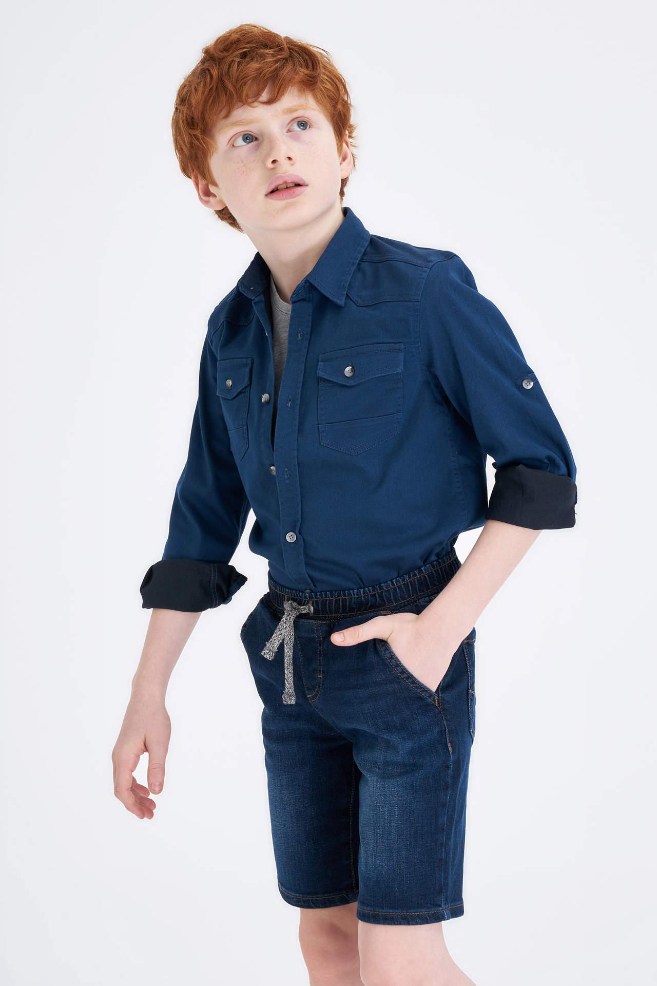 DeFacto Erkek Çocuk Kolları Katlanabilir Jean Gömlek Mavi male