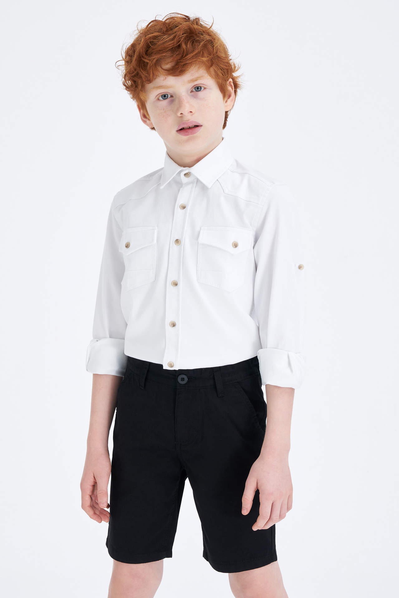 DeFacto Erkek Çocuk Regular Kolları Katlanabilir Jean Gömlek Beyaz male