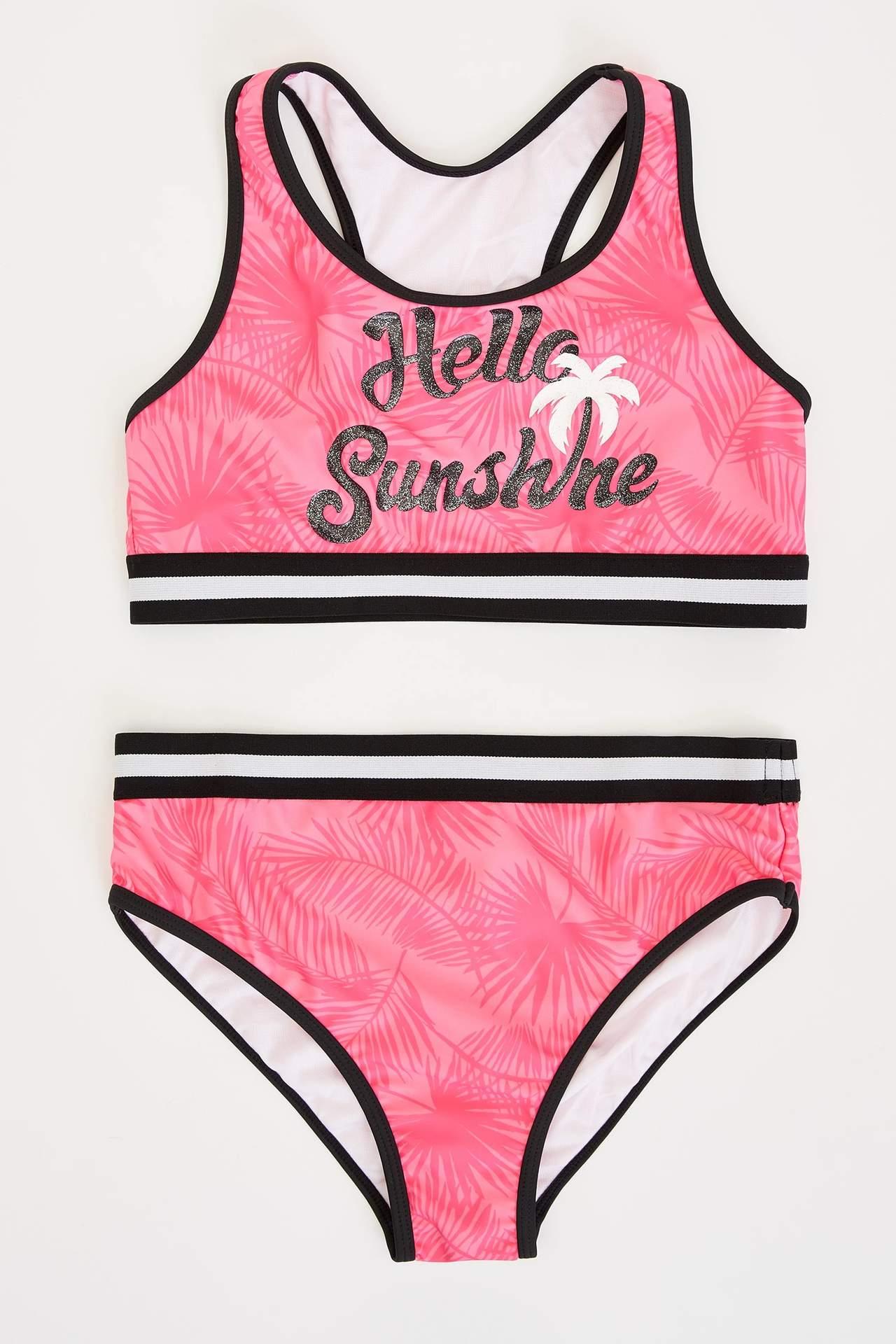 DeFacto Kız Çocuk Baskılı Bikini Takım Pembe female