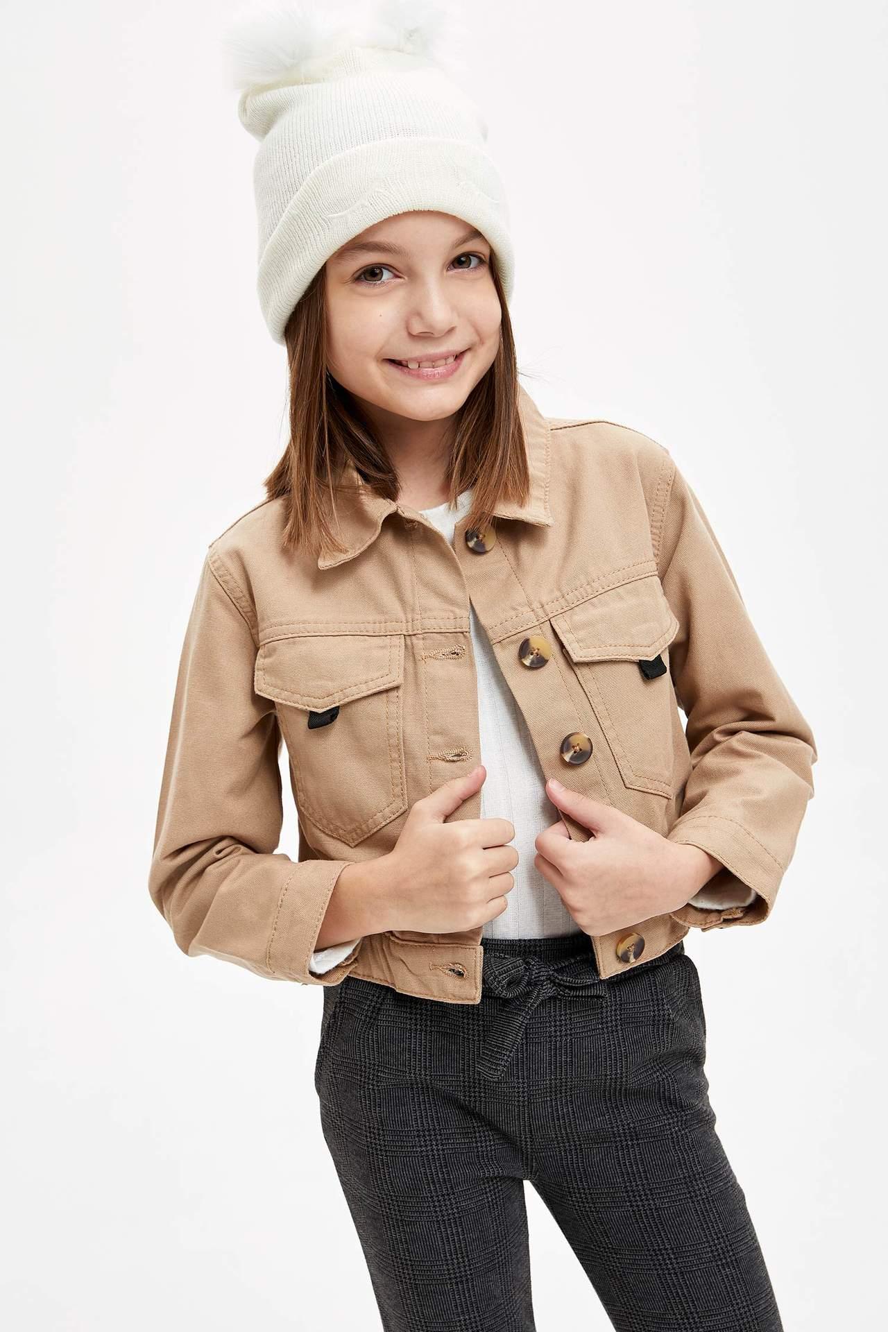 DeFacto Kız Çocuk Regular Fit Düğmeli Jean Ceket Bej female