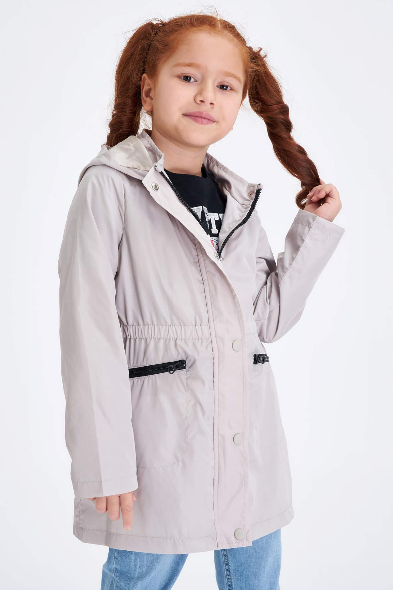 DeFacto Kız Çocuk Kapüşonlu Cep Detaylı Mont Bej female