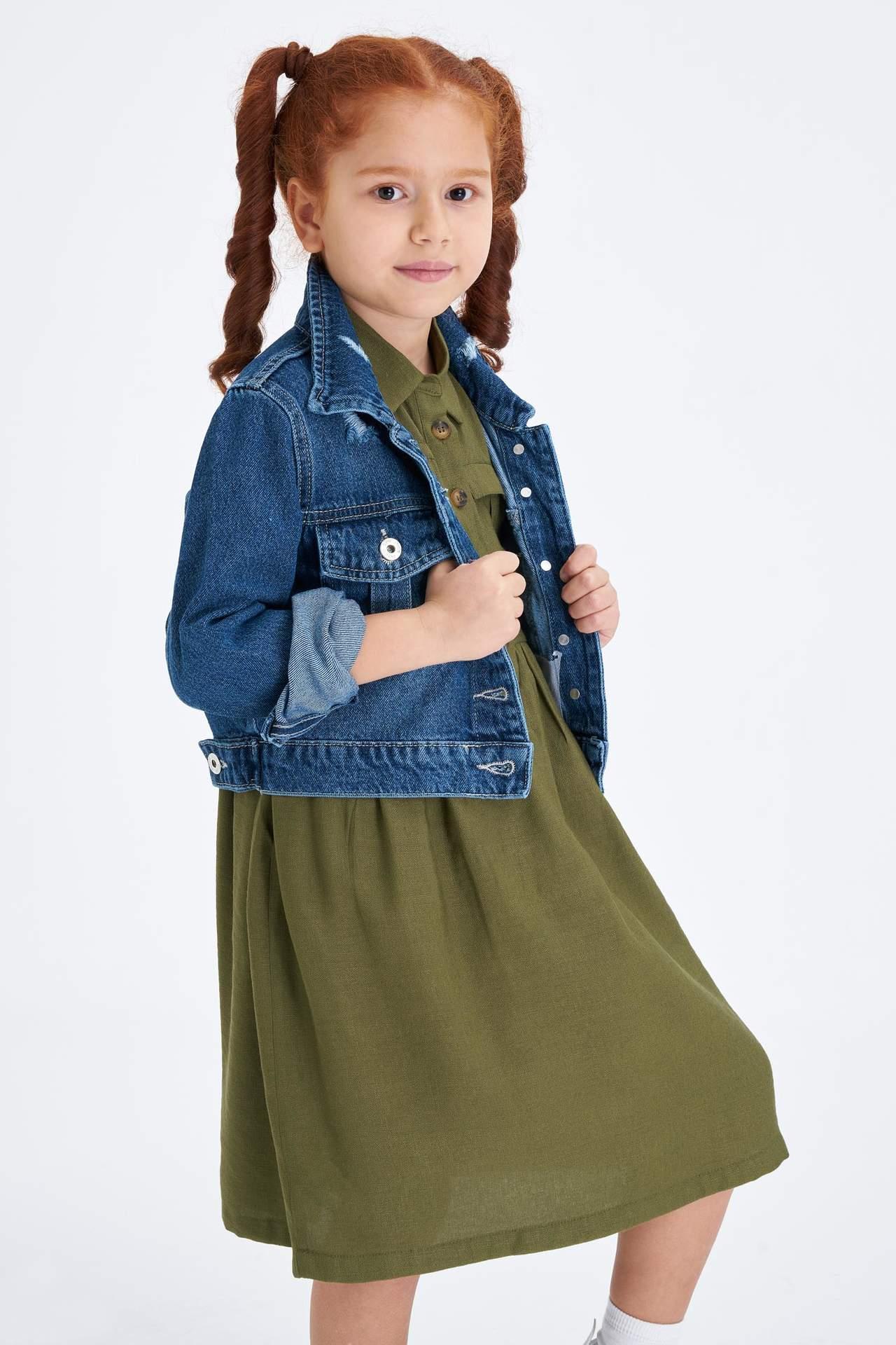 DeFacto Kız Çocuk Crop Jean Ceket Mavi female
