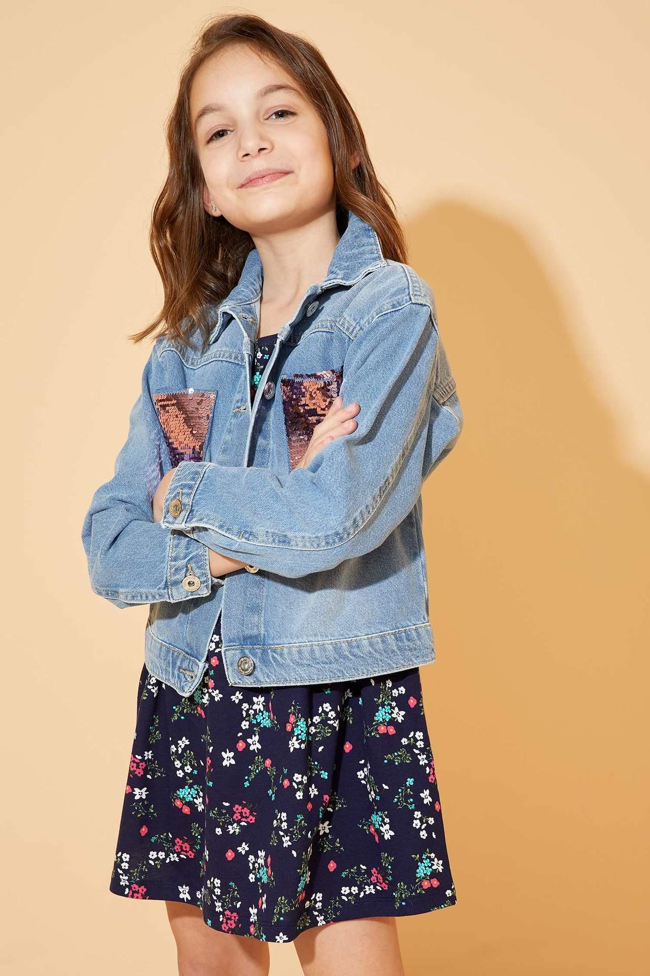DeFacto Kız Çocuk Relax Fit Payet Baskılı Jean Ceket Mavi female