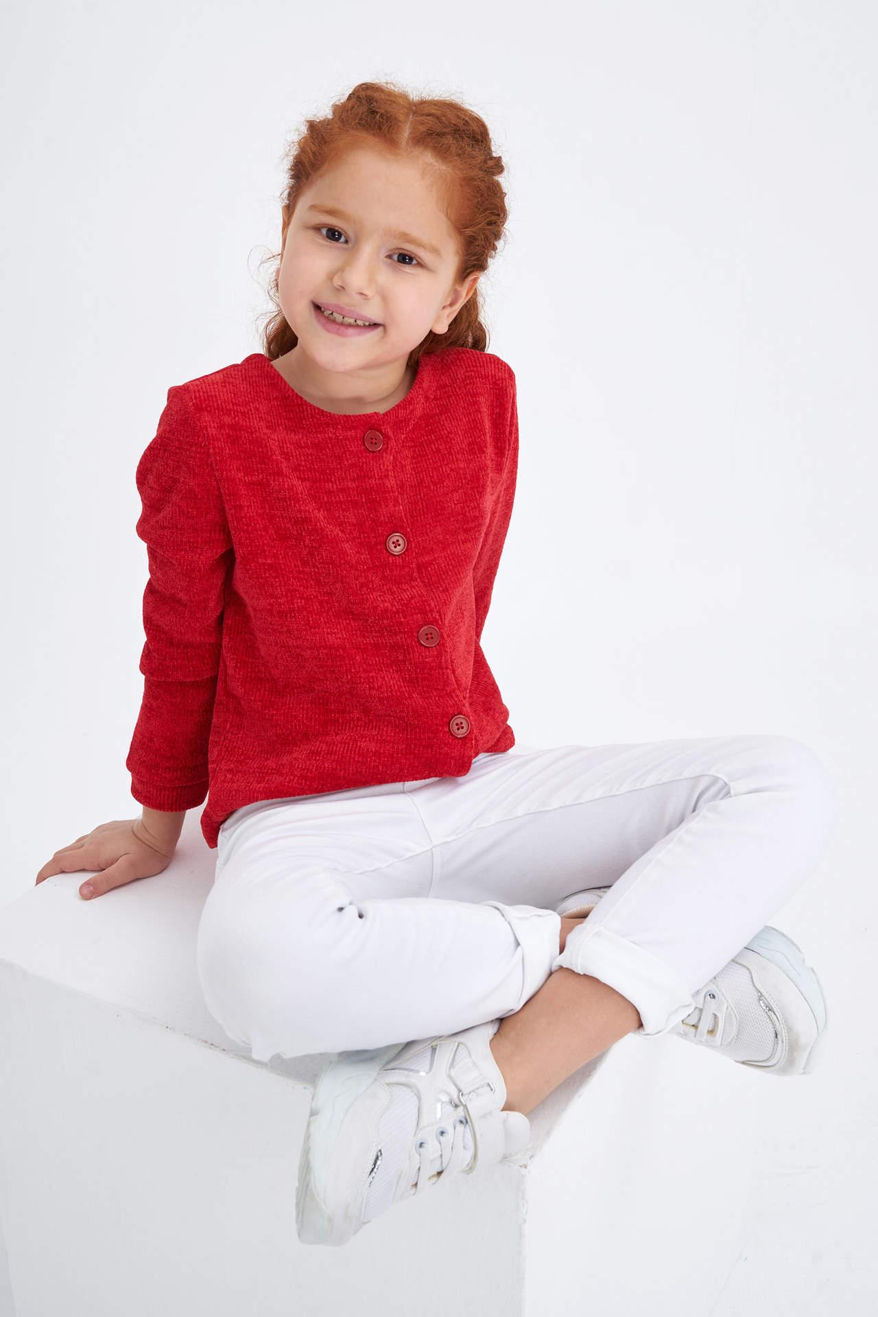 DeFacto Kız Çocuk Düğmeli Basic Hırka Kırmızı female