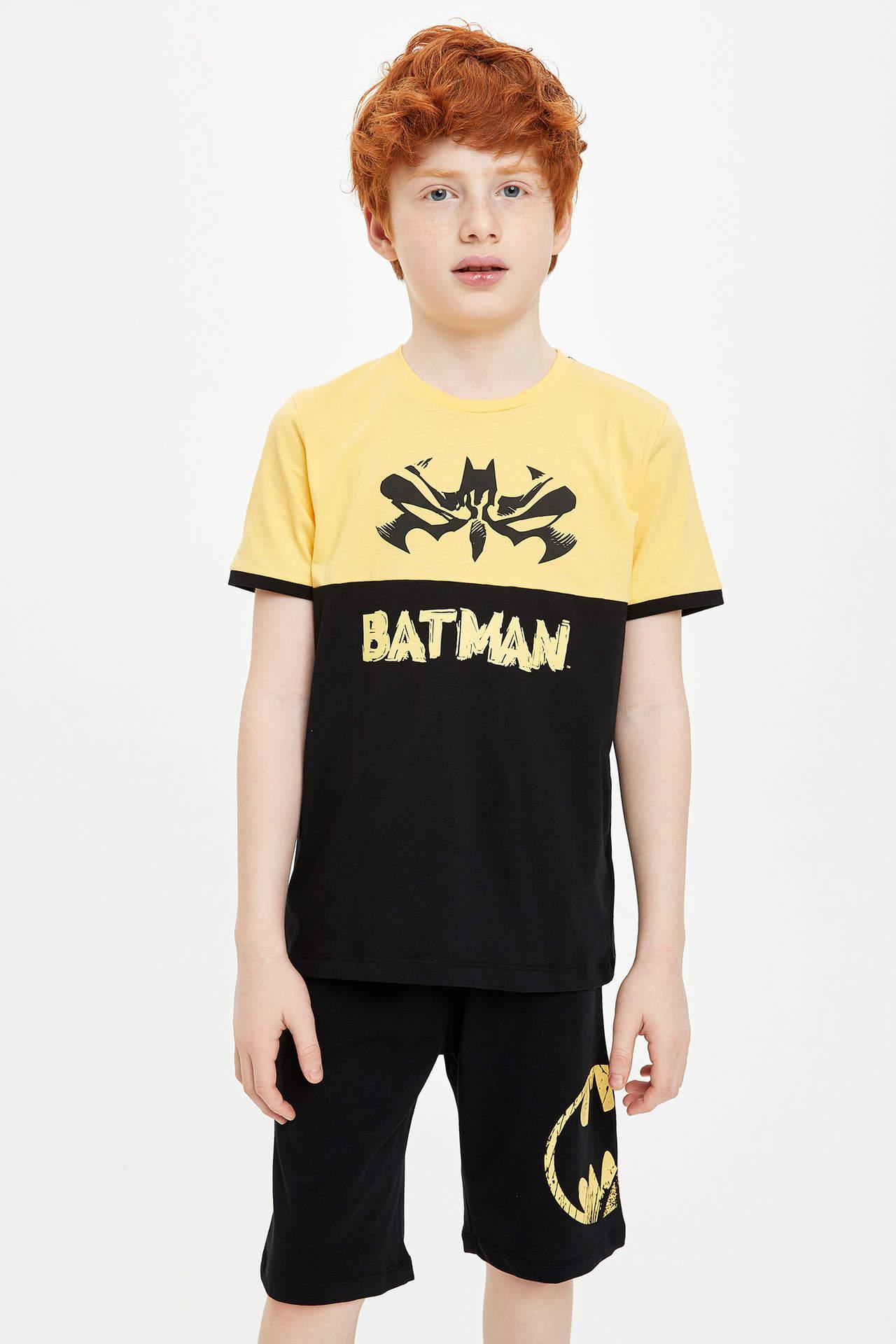 DeFacto Erkek Çocuk Batman Lisanslı Kısa Kollu Tshirt Bermuda Takım Sarı male