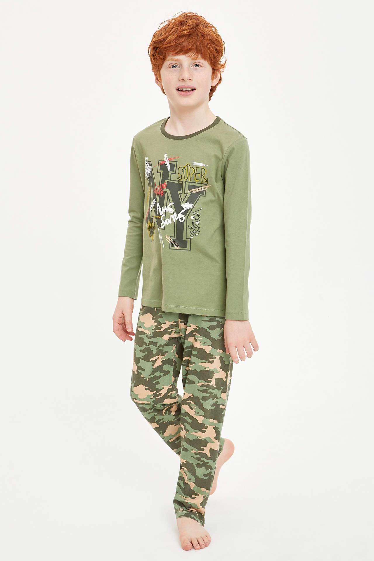 DeFacto Erkek Çocuk Kamuflaj Baskılı Pijama Takımı Yeşil male