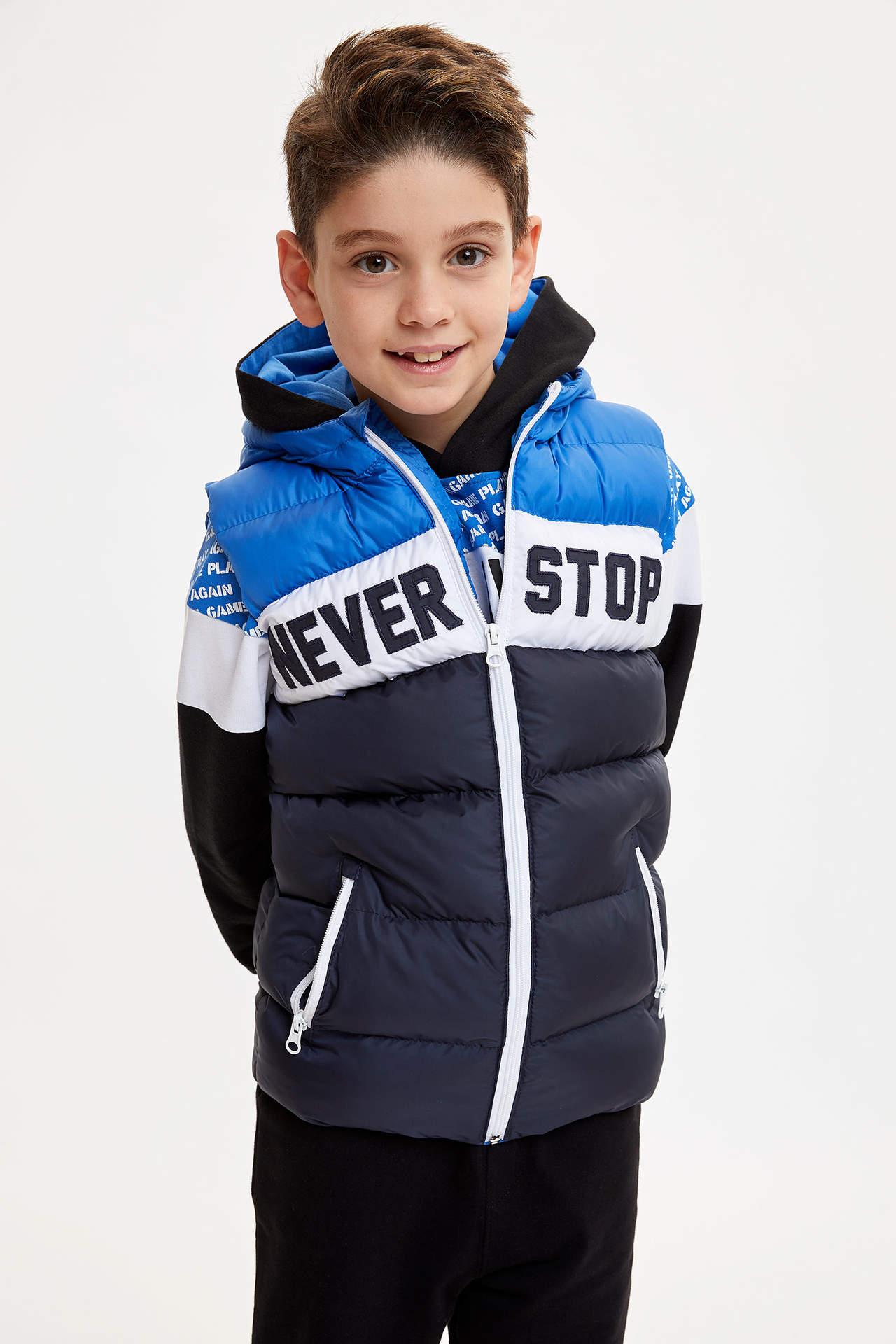 DeFacto Erkek Çocuk Renk Bloklu Baskılı Şişme Yelek Mavi male