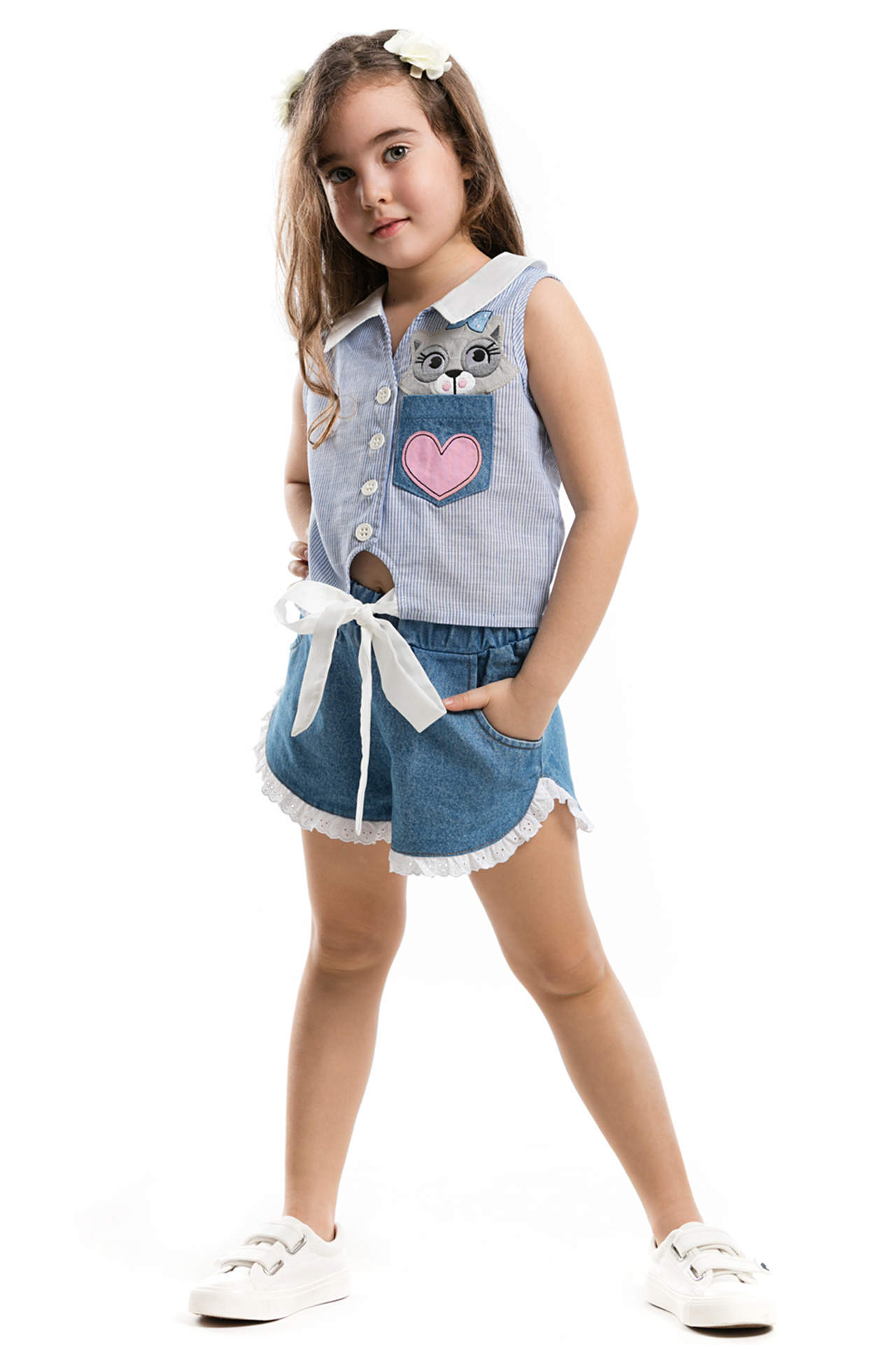 DeFacto Kız Çocuk Baskılı Fırfır Detaylı Jean Şort Bluz Takım Lacivert female
