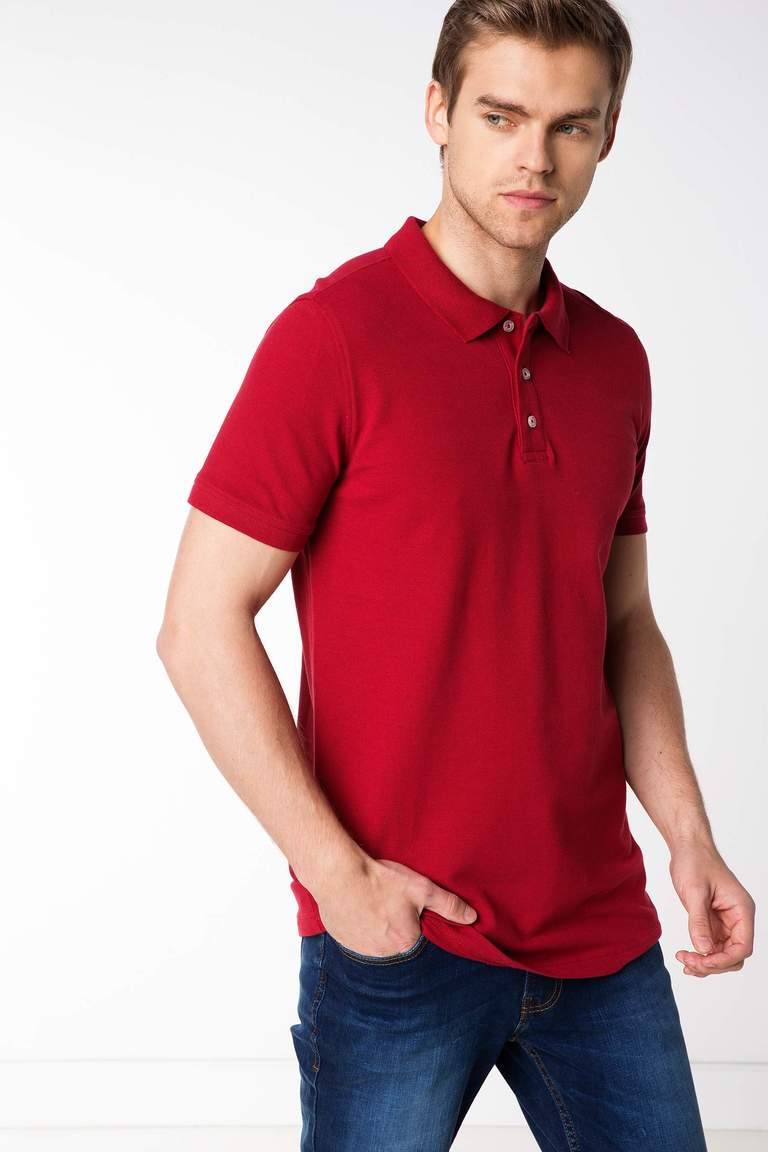DeFacto Bordo Erkek Basic Polo T-shirt 1