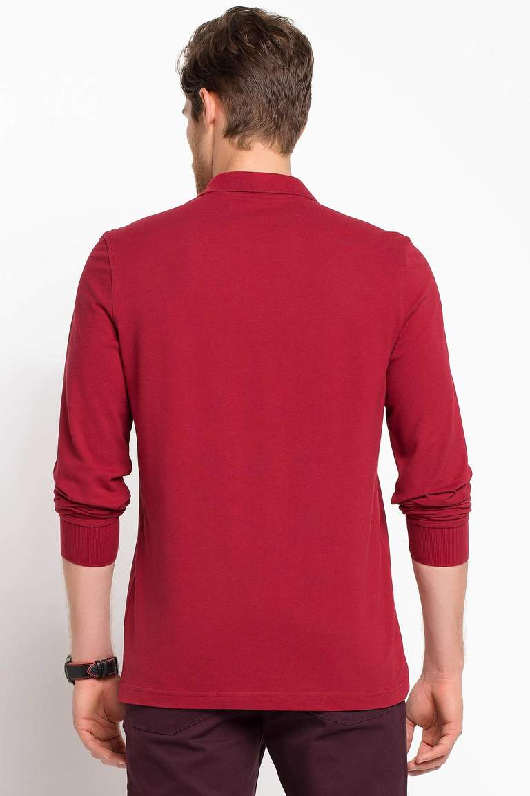 DeFacto Bordo Erkek Basic Polo T-shirt 4