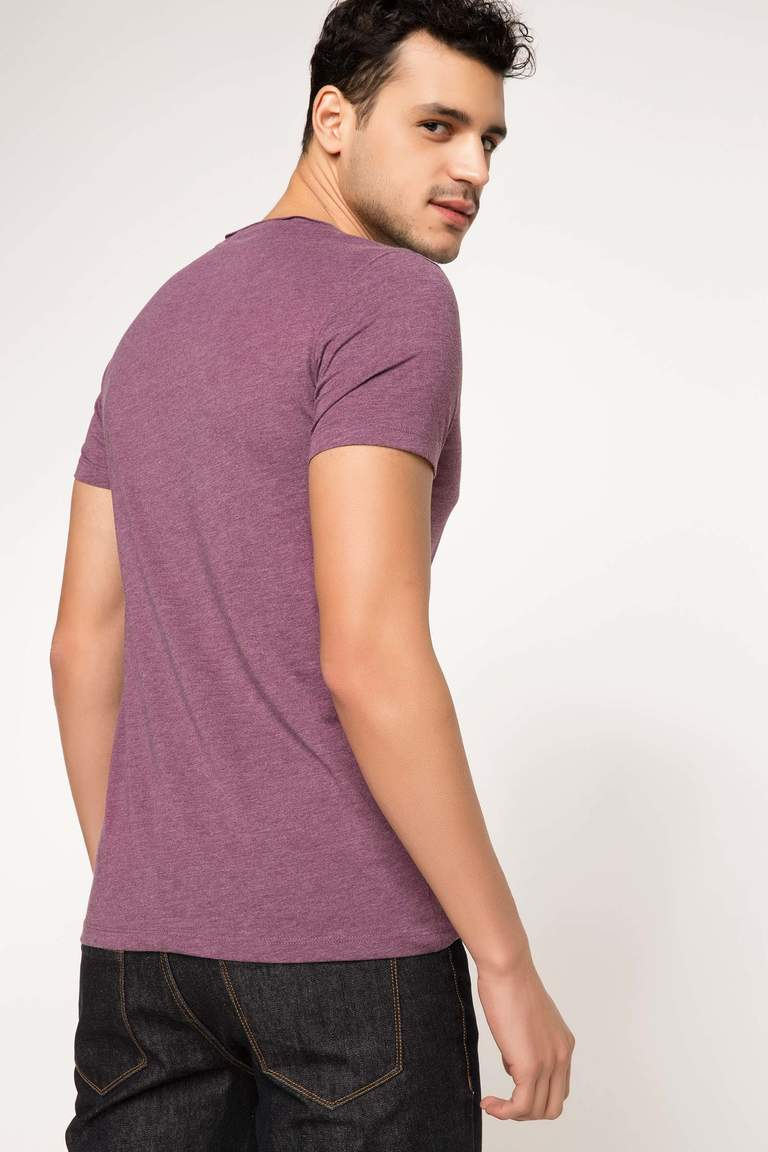 DeFacto Mor Erkek Ekstra Slim Fit Basic T-shirt 3