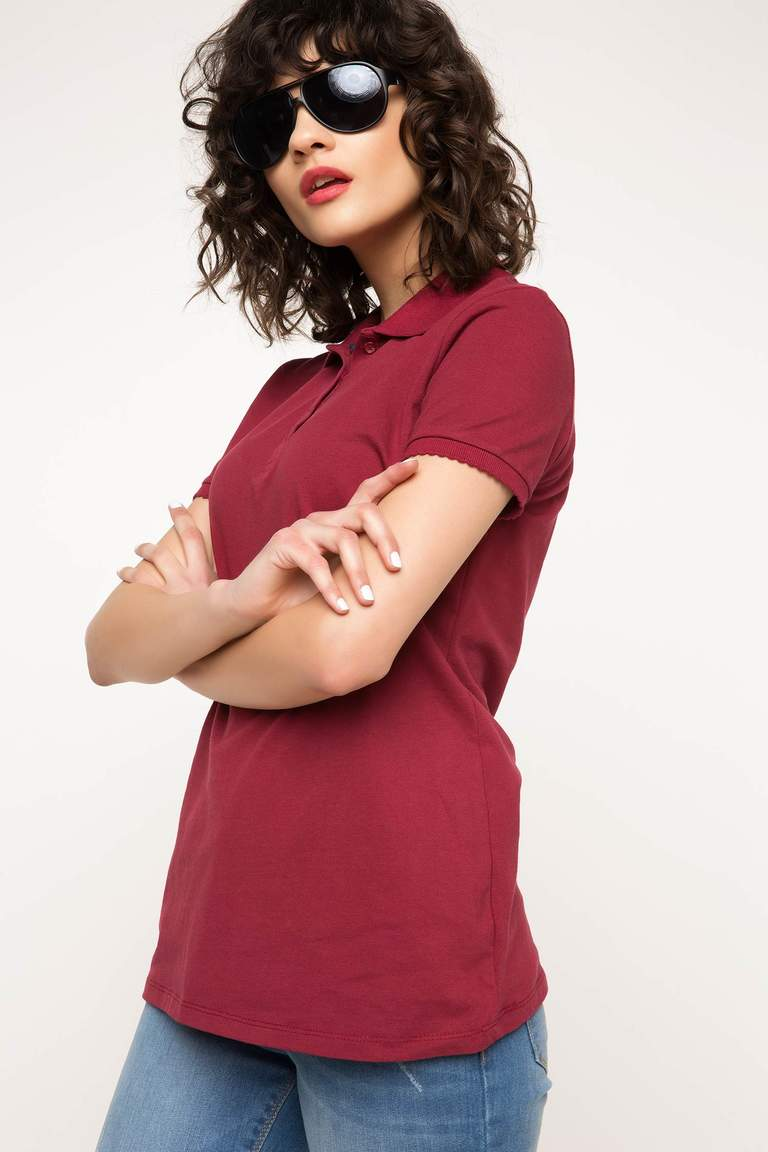 DeFacto Bordo Kadın Basic Polo T-Shirt 1