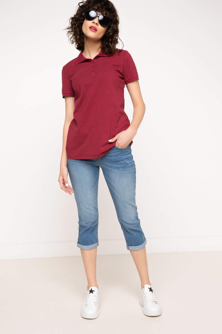 DeFacto Bordo Kadın Basic Polo T-Shirt 2