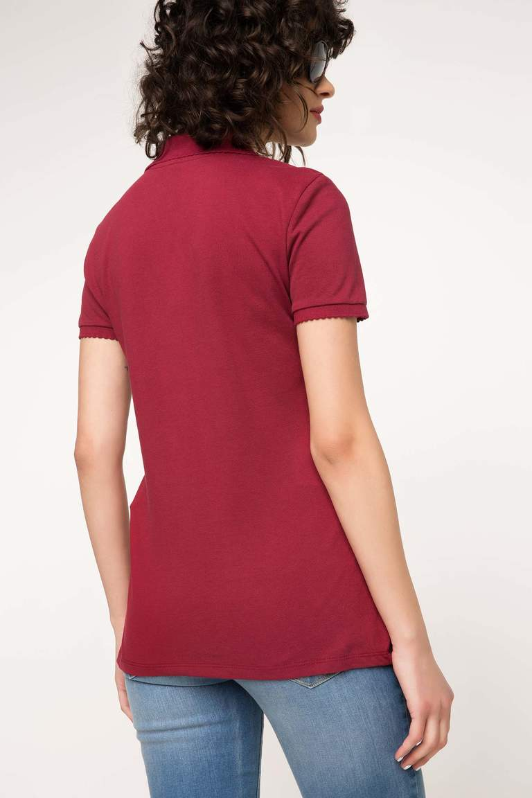 DeFacto Bordo Kadın Basic Polo T-Shirt 3