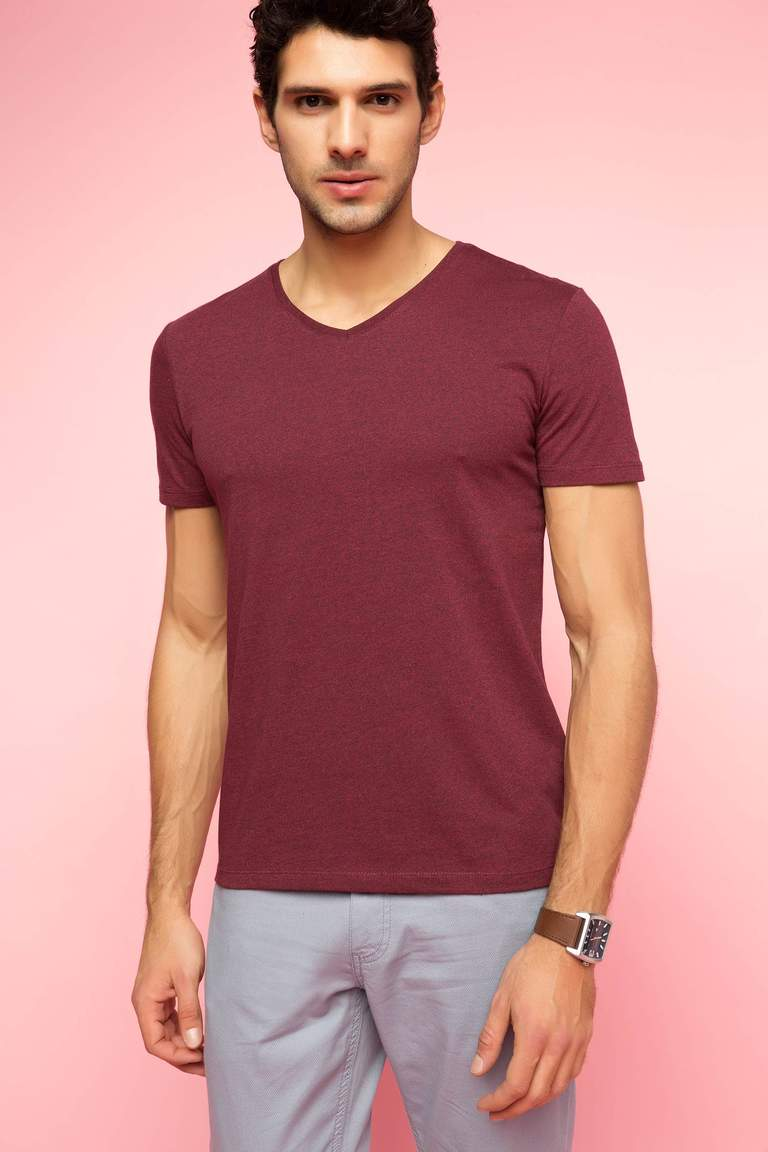 DeFacto Bordo Erkek V Yaka Basic T-shirt 1