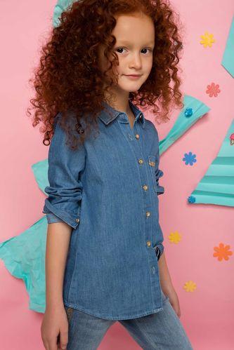 DeFacto Kız Çocuk Denim Gömlek