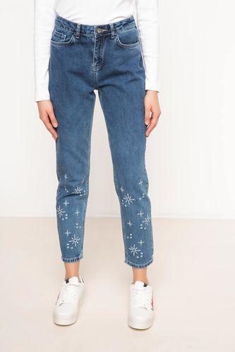 DeFacto Nakış İşlemeli Denim Pantolon