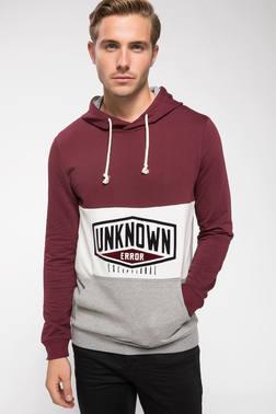 DeFacto Baskılı Renk Bloklu Kapşonlu Sweatshirt