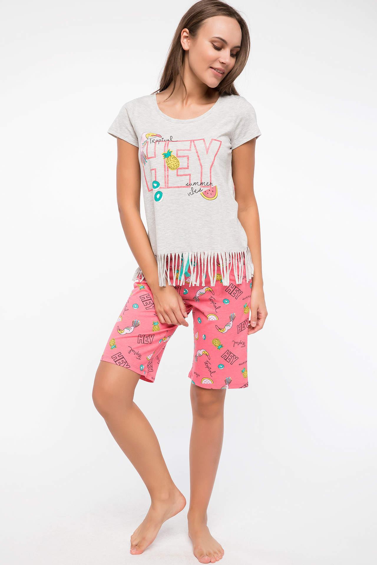 Defacto Kadın Püskül Detaylı Baskılı Pijama Takım