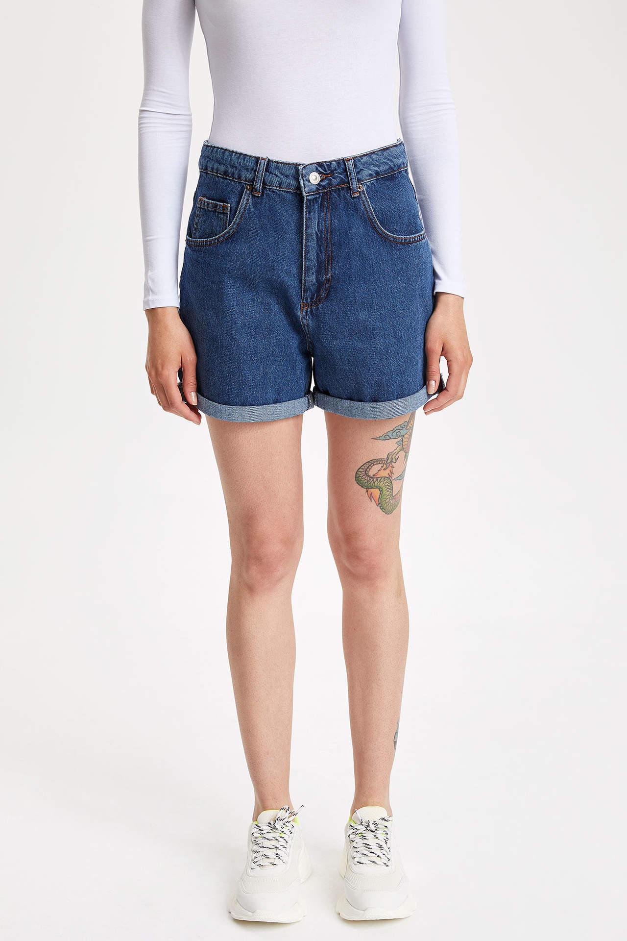 Defacto Kadın Normal Bel Jean Şort
