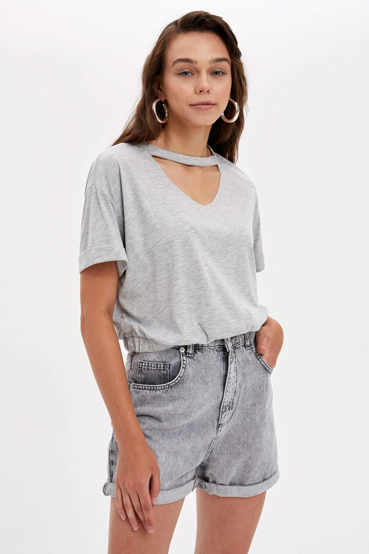 Defacto Kadın Choker T-shirt