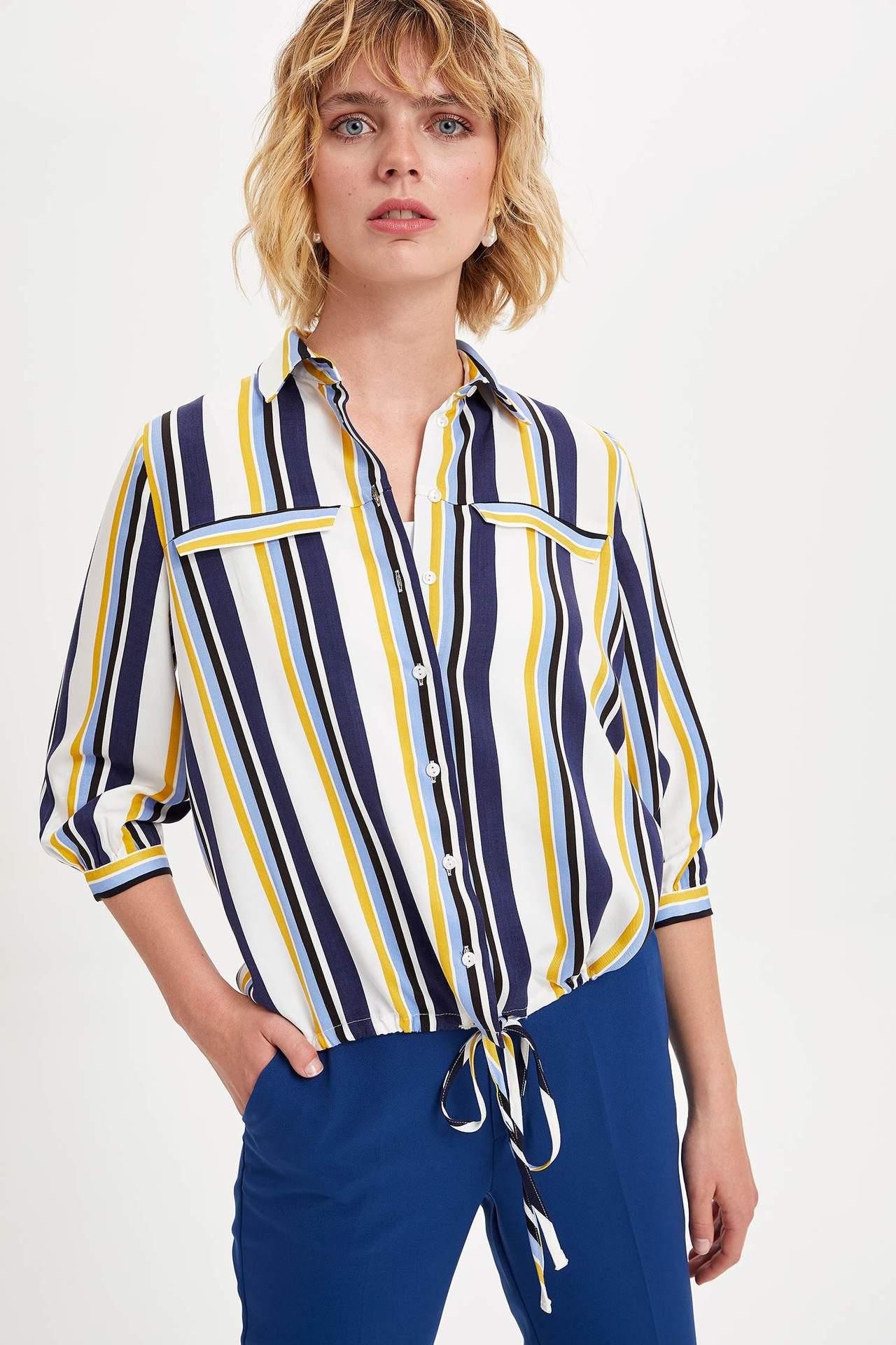 Defacto Kadın Büzgülü Uzun Kollu Gömlek