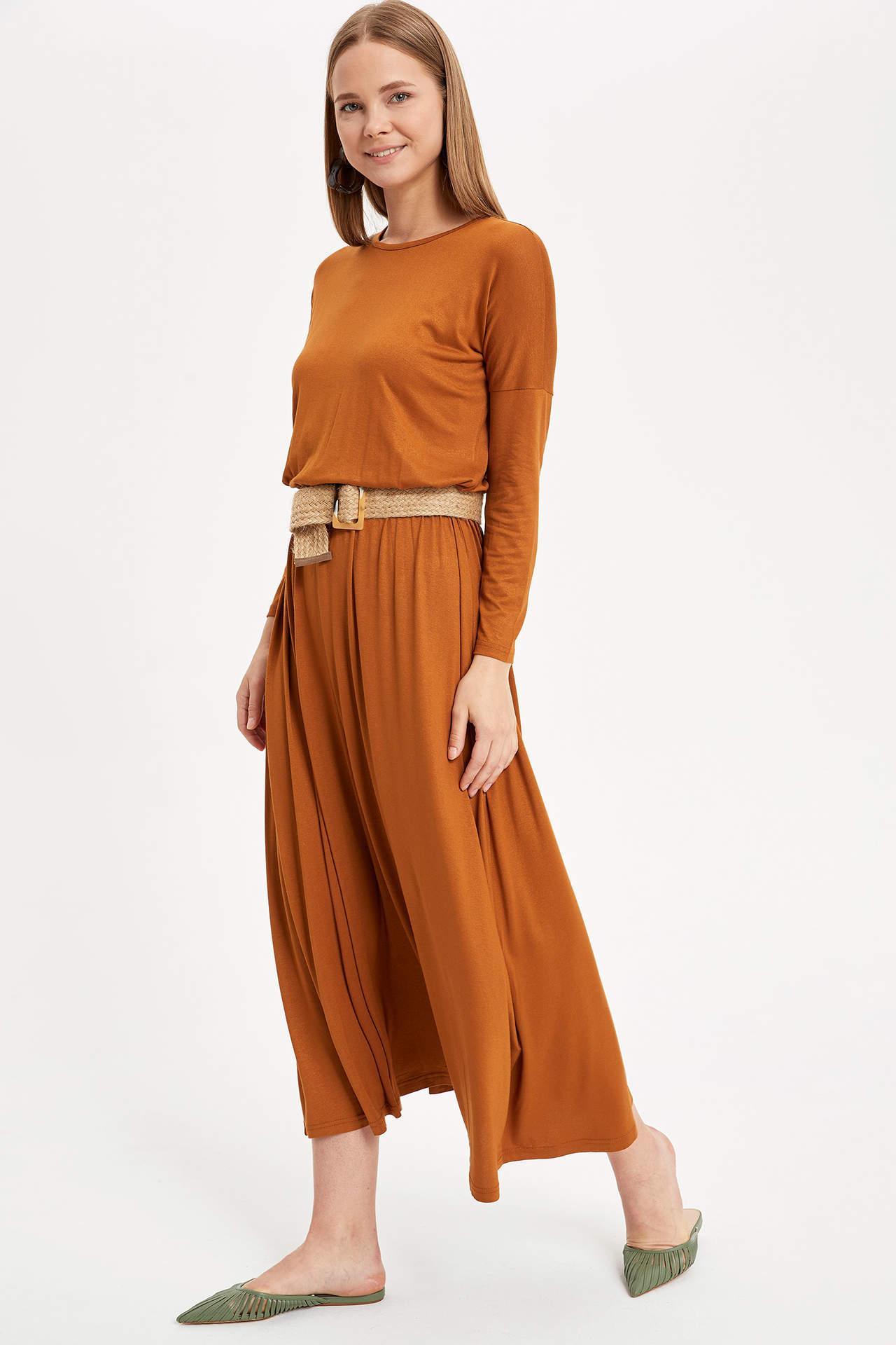 Defacto Kadın Beli Büzgülü Uzun Elbise