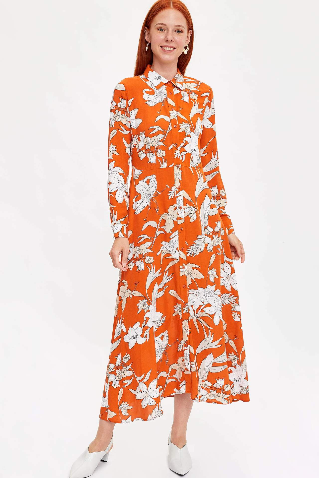Defacto Kadın Desenli Gömlek Yaka Elbise