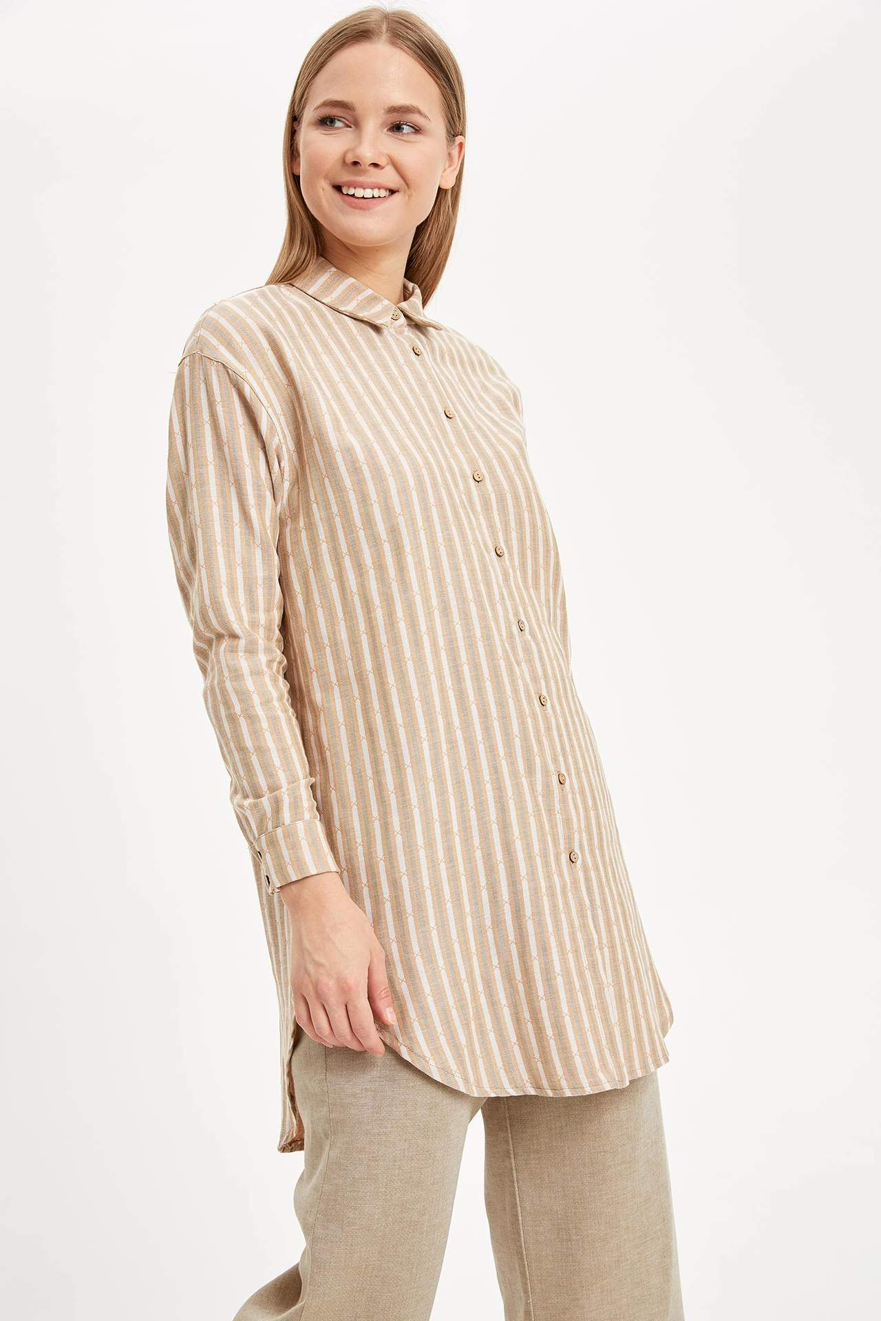Defacto Kadın Çizgili Relax Fit Gömlek Tunik