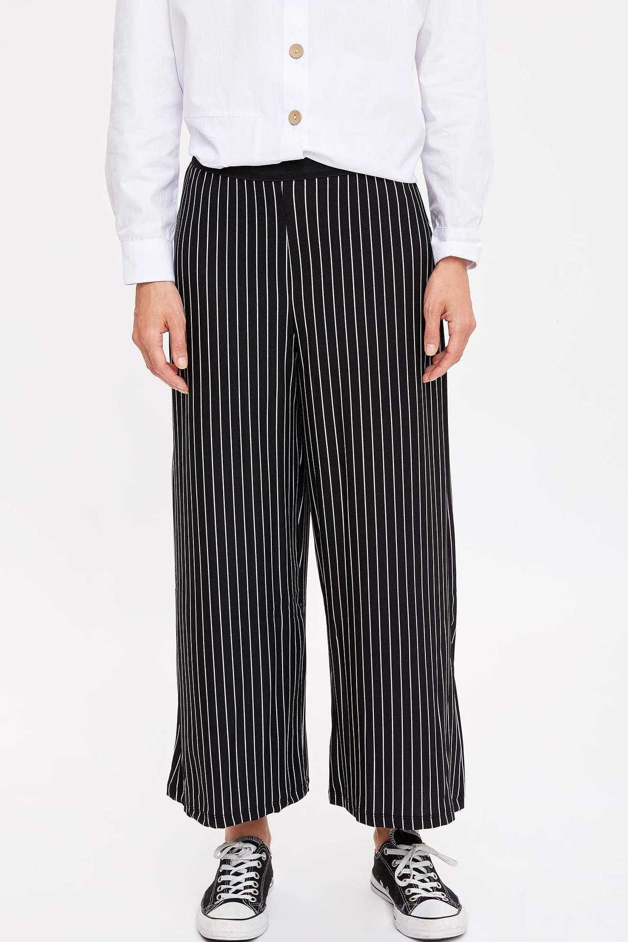 Defacto Kadın Regular Fit Çizgili Pantolon
