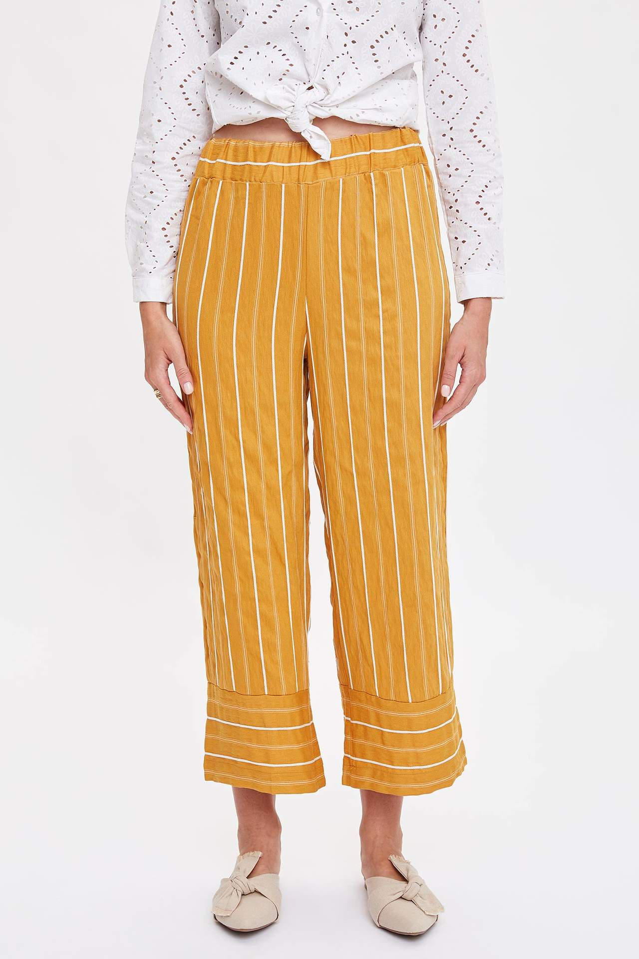 Defacto Kadın Çizgili Relax Fit Pantolon