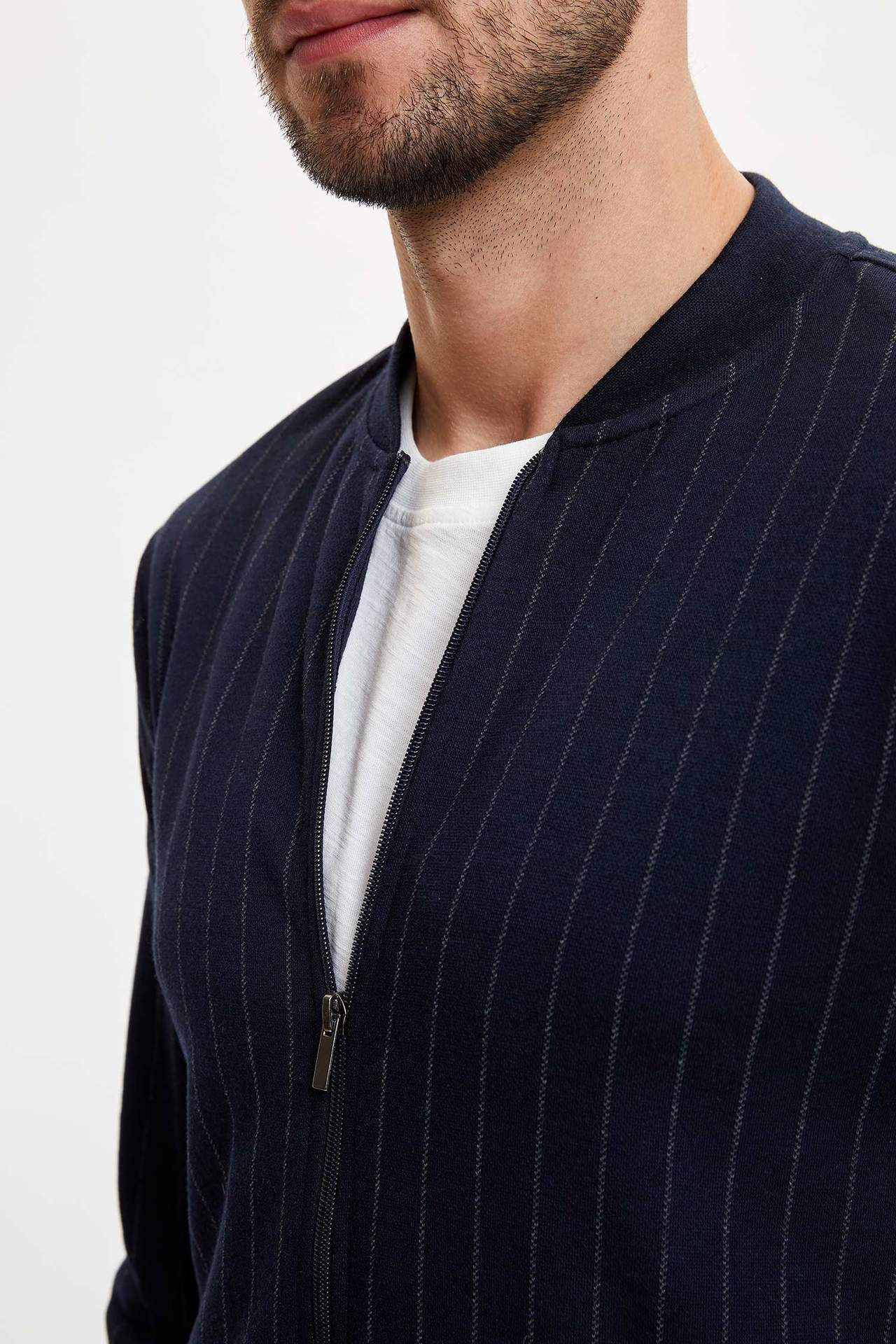 DeFacto Man Cardigan Bolero Men's Spring Casual Striped Top Coats Men's Dark Blue Zipper Coats-M7773AZ20SP