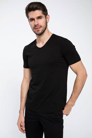 Slim Fit V Yaka Basic T-shirt