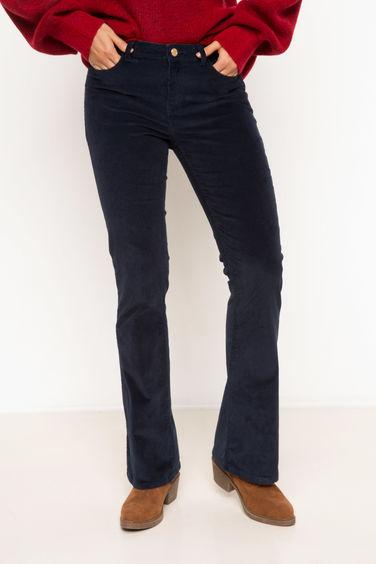b54542125 اللون الكحلي النساء بنطلون خصر عالي مخملي واسع الساق 788875 | DeFacto