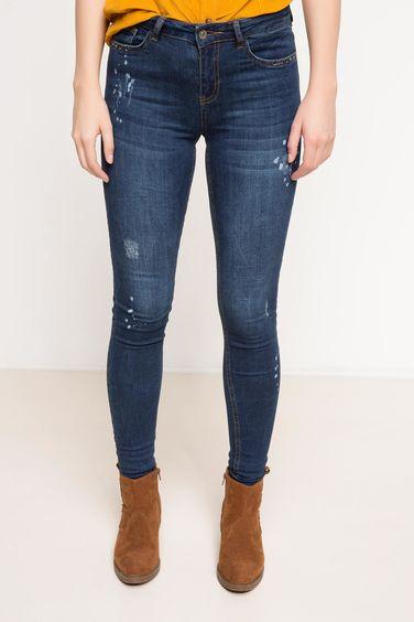 c16340ff0 الأزرق النساء بنطلون جينز ضيق بخصر عالي 771065 | DeFacto