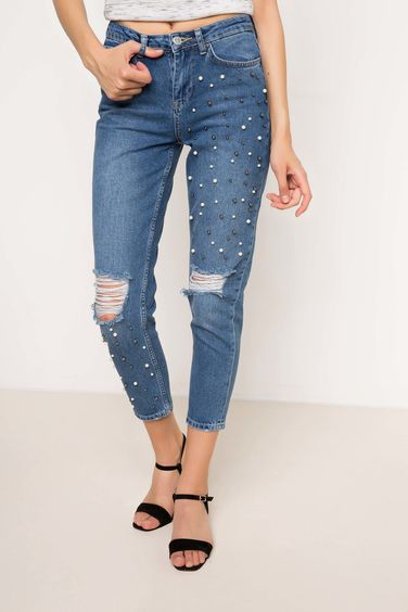 DeFacto İncili Denim Pantolon