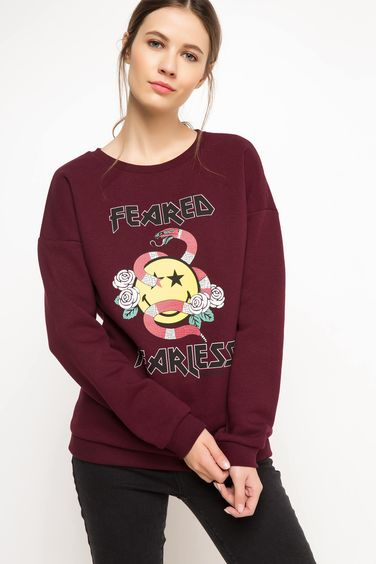 DeFacto Smiley World Baskılı Lisanslı Sweatshirt