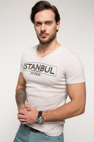 DeFacto Slim Fit V Yaka Baskılı Body