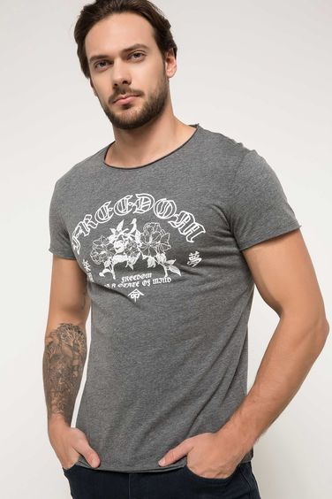 DeFacto Ekstra Slim Fit Baskılı T-shirt