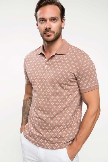 DeFacto Slim Fit Floral Desenli Polo T-shirt