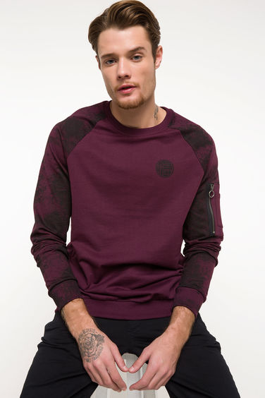 DeFacto Regular Fit Sıfır Yaka Sweatshirt