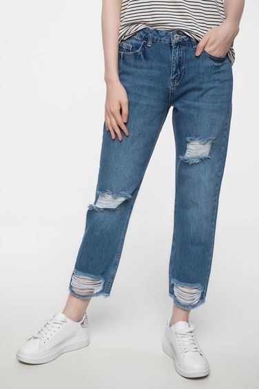 DeFacto Mary Straight Fermuar Detaylı Denim Pantolon