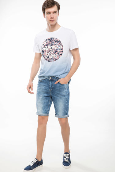 DeFacto Slim Fit Denim Bermuda