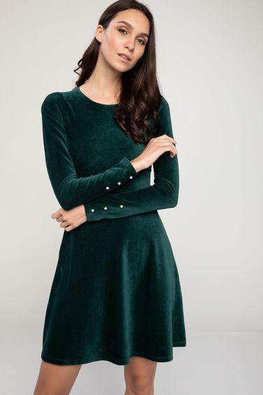 9cebdf567c3 женское вельветовое платье отрезное по талии с жемчужинами на рукавах