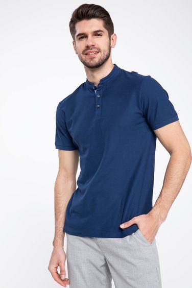 2e465638 Indigo Blue Men Man Polo T-Shirt 980707 | DeFacto