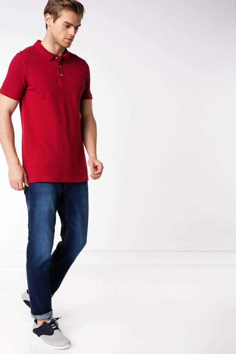 DeFacto Bordo Basic Polo T-shirt 2