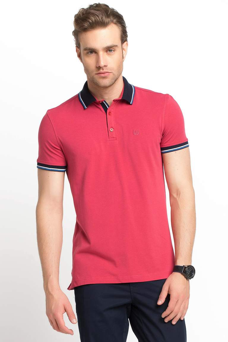 DeFacto Bordo Dar Kesim Polo T-shirt 1
