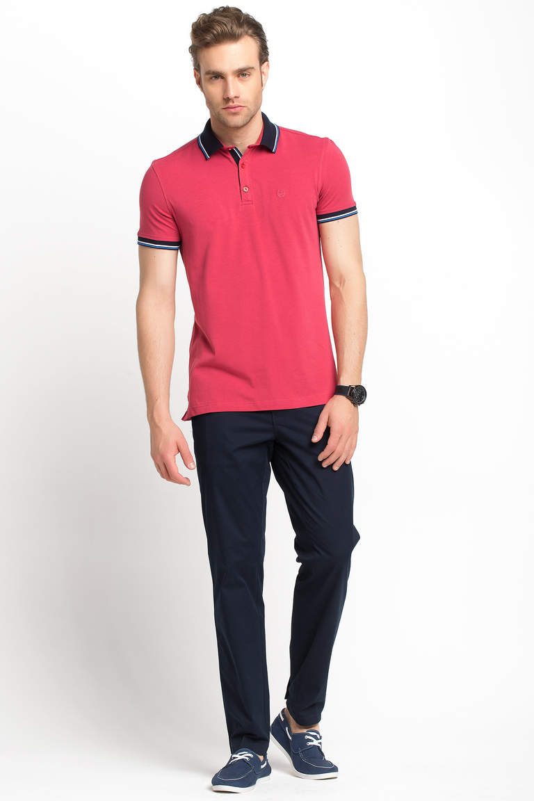 DeFacto Bordo Dar Kesim Polo T-shirt 2