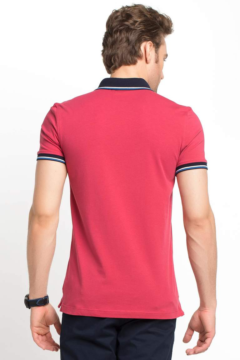 DeFacto Bordo Dar Kesim Polo T-shirt 3