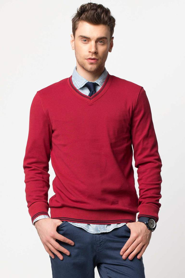 DeFacto Bordo V Yaka Basic Sweatshirt 1